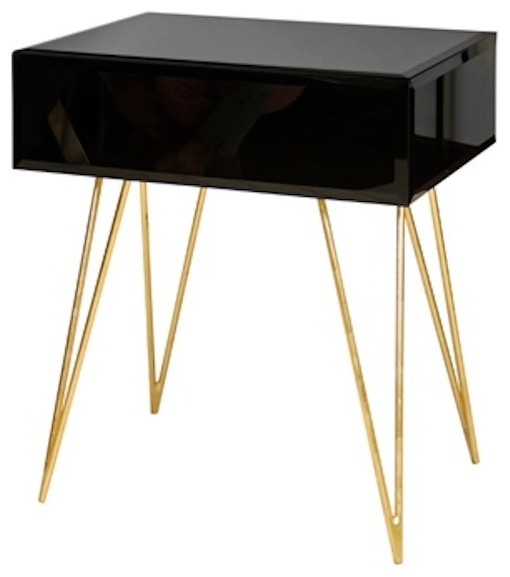 Worlds Away Debra Black Glass Nightstand with Gold Hairpin Legs - Contemporary - Nightstands And ...