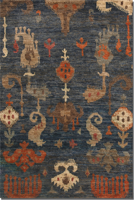 ikat rugs blue orange tropical rugs new york by zin home. Black Bedroom Furniture Sets. Home Design Ideas