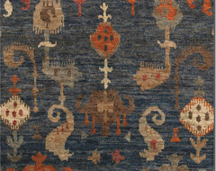 Ikat Rugs-Blue & Orange tropical rugs
