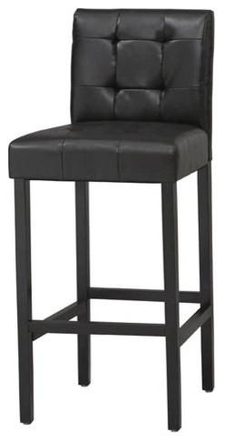 Linon Bonded Leather Tufted Counter Stool 24 in. contemporary-bar-stools-and-counter-stools