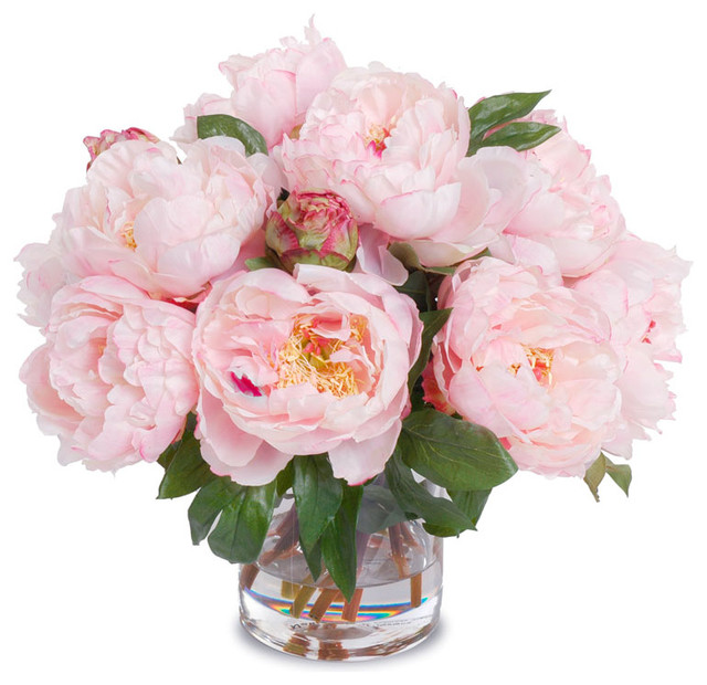 Faux Peony Bouquet In Cylinder Vase Pink
