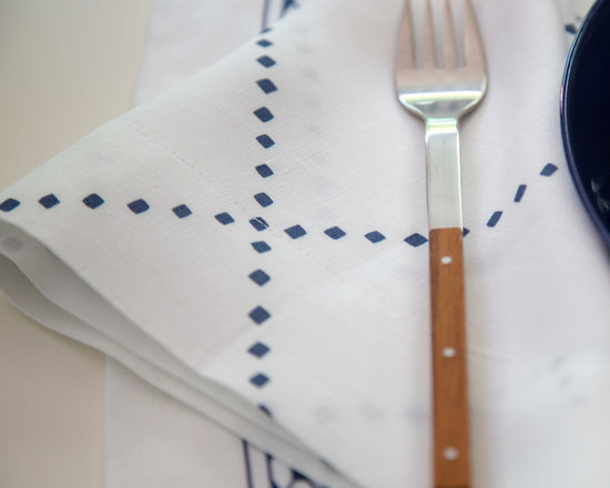 Anfa Blue Linen Napkin - For the Nautical theme and summer lunches on the patio, the Huddleson Anfa Blue Napkins are perfect. Price per set of 4. Photos by Fitzsu Society