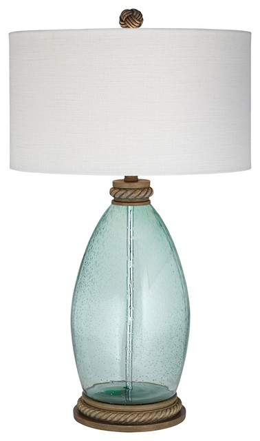 Coastal Blue Lagoon Seeded Glass Table Lamp Beach Style Table Lamps By