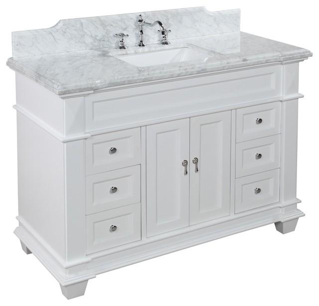 White Transitional Bathroom Vanities: Elizabeth 48-in Bath Vanity (Carrara/White)