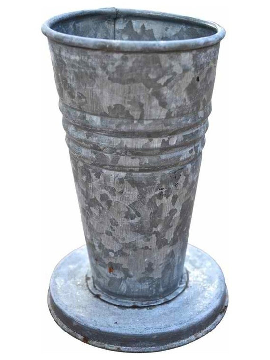 Galvanized flower urn - Love this galvanized vintage style piece... Tall yet sturdy with it's round base. A must have for arranging your favorite flowers!