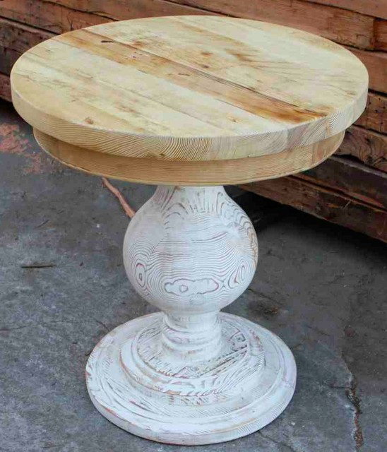 Round Accent Table Built in Reclaimed Lumber eclectic