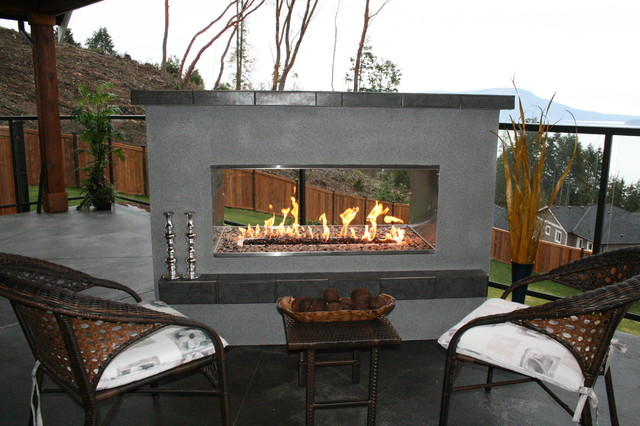 See thru fireplace modern fire pits vancouver by for See thru fireplace
