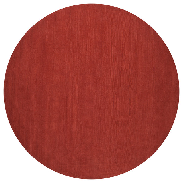 Hand-crafted Orange Solid Casual Pinega Wool Rug (6' Round) contemporary-rugs