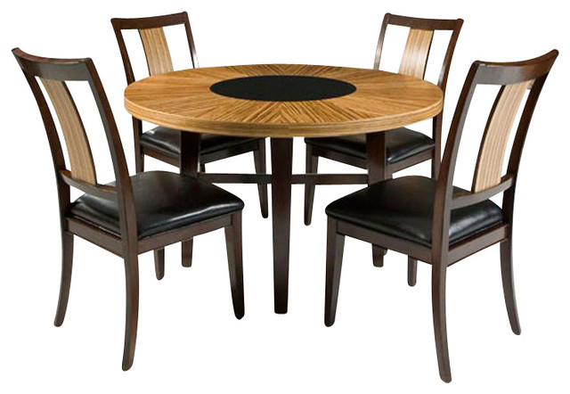 Armen Living Milano Dining Table in Zebrano transitional-dining-tables