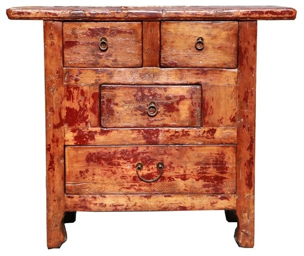 Rustic Lacquer Wood Country Side Cabinet - Rustic - Side Tables And End Tables - by Golden Lotus ...