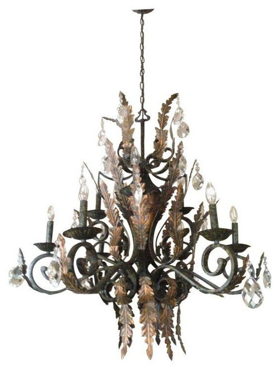 Pre-owned Gold Leaf & Crystal Chandelier - A simply beautiful  gold leaf, crystal chandelier. This sparkling chandelier will add a bit of elegance to any room it hangs in. It is in excellent condition and has been very well maintained. It is wired and in perfect working condition.