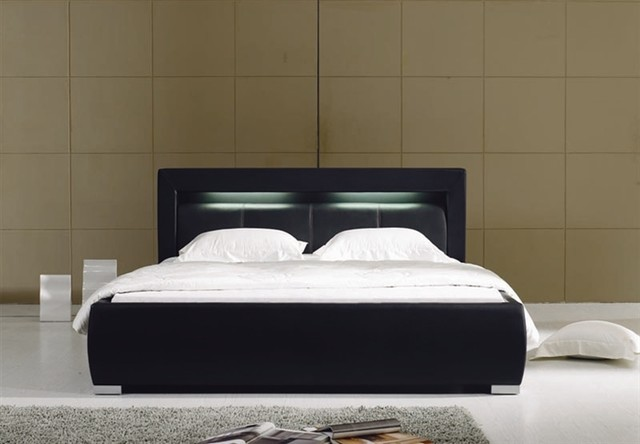 Groz modern leather bed frame black modern beds by - Modern bed volwassen ...