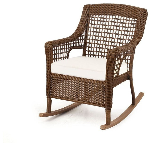 Bay Chairs Spring Haven Brown All-Weather Wicker Patio Rocking Chair ...