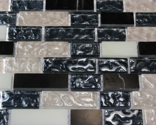FUSION ASPHALT 1/2X Random MARBLE & GLASS TILES - This stunning combination of marble and textured glass tile in nero marquina, snow white and white will give an added pop to any room with these beautiful tiles. Great to use for a backsplash for a kitchen or a fireplace.