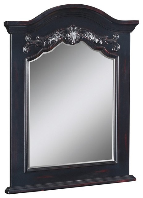 Belle Foret 80165 Carved Portrait Mirror in Hand Rubbed Black traditional bathroom mirrors