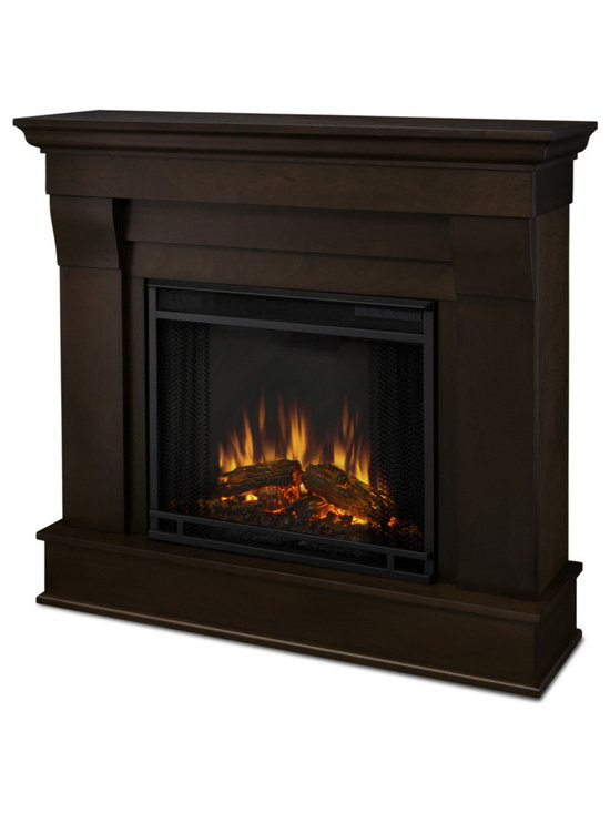 Real Flame - Chateau,door Electric Fireplace, Dark Walnut - The Chateau Electric Fireplace features the clean lines and classic styling familiar to stone mantels, realized in wood. In three great finishes, this design is sure to compliment a variety of decor, from classic to contemporary. The Vivid Flame Electric Firebox plugs into any standard outlet for convenient set up. The features include remote control, programmable thermostat, timer function, brightness settings and ultra bright Vivid Flame Led technology. Available in White, Dark Walnut, or Espresso finishes.