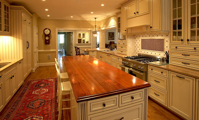 Mahogany Wood Counter By Grothouse Traditional Kitchen