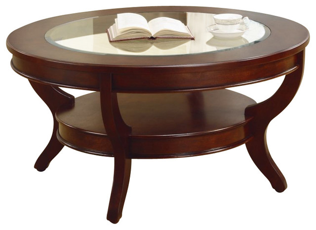 Homelegance Avalon Round Cocktail Table In Cherry Transitional Coffee Tables By Cymax