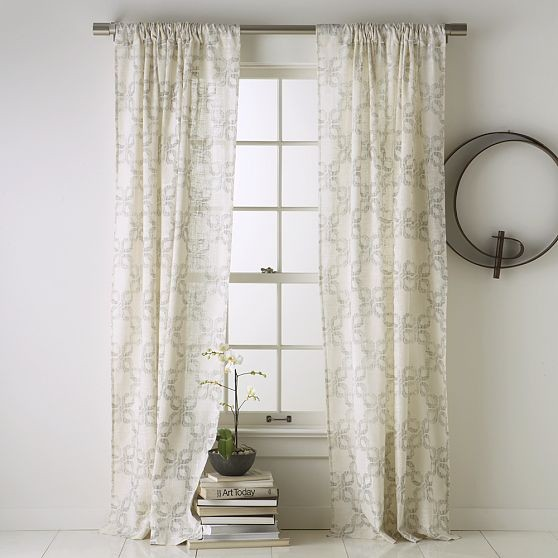 Carved circles window panel modern curtains by west elm for West elm window treatments