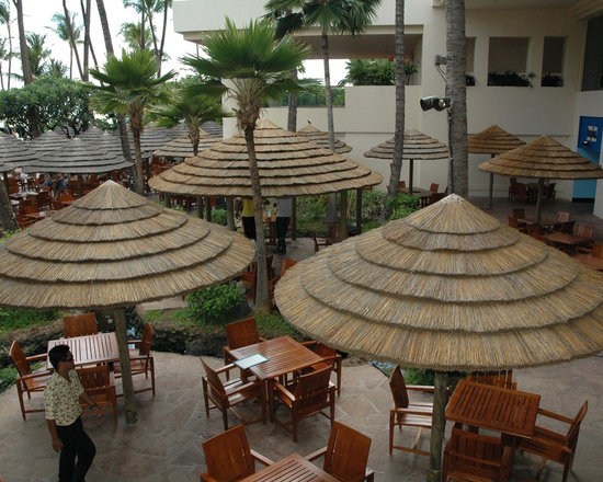 Thatch Umbrella - Natural - Not only is natural thatch a beautiful and unique roofing material, but it is also a highly renewable resource that can add to the sustainability and green initiative of your construction project.