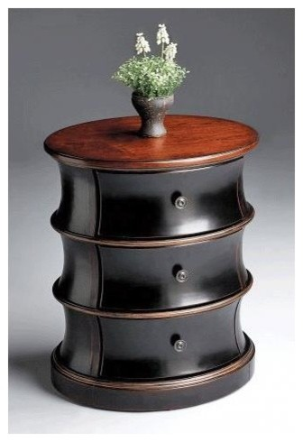 Three-Drawer Drum Accent Table with Cherry Veneer Oval Top transitional-side-tables-and-end-tables
