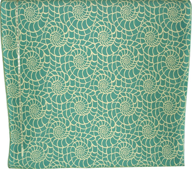 Seashell Fabric Modern Graphic Turquoise Sample Beach