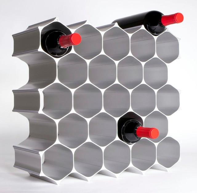 WineHive 28 Bottle Modular Wine Rack Contemporary