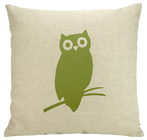Owl Pillow Case Apple Green Owl Silhouette by Classic by Nature modern-pillows