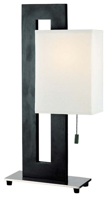 Table Lamp, Black With White Fabric Shade, Type A 100W traditional-table-lamps
