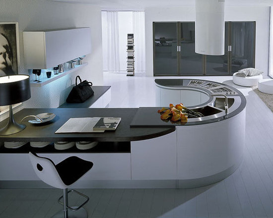 Integra White - Pedini Integra, in white painted rift-cut oak, with curved cabinets, glass countertops. Pedini TM designed curved sink and cook top.