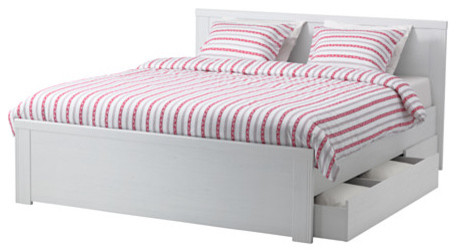 Brusali bed frame with 4 storage boxes contemporary for Divan bed frame with storage