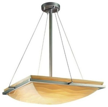 Justice Design Group Porcelina PNA-9792-25-WAVE-NCKL 24 in. Square Pendant Bowl modern ceiling lighting