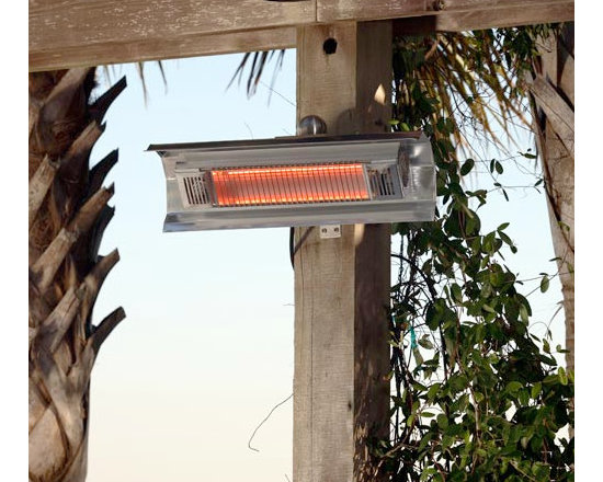 Fire Sense Stainless Steel Wall Mounted Infrared Patio Heater - Weighing only 8.8 pounds, the Fire Sense Stainless Steel Wall Mounted Infrared Patio Heater can heat an impressive amount of space -- 9 square feet. -Mantels Direct