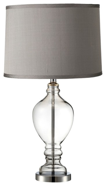 Platinum Gray Dupioni Apothecary Urn Glass Table Lamp contemporary-table-lamps