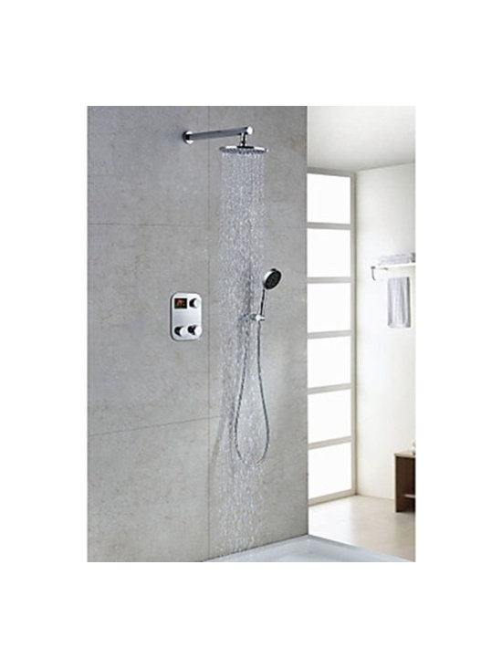 Shower Faucets - Contemporary Thermostatic LCD Digital Display 8 inch Round Showerhead & Handshower--FaucetSuperDeal.com