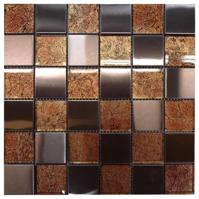 W31 Copper Glass Copper Steel Mosaic Contemporary Tile Los Angeles By