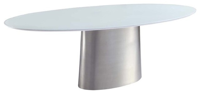 Oval Glass Top Dining Table with Brushed Nickel Stainless  : contemporary dining tables from www.houzz.com size 640 x 302 jpeg 11kB