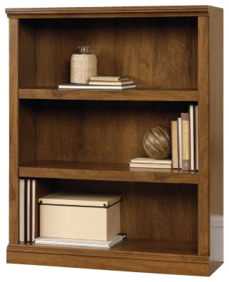Sauder 3 Shelf Bookcase in Oiled Oak transitional-bookcases