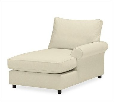 PB Comfort Roll Arm Upholstered Right Arm Chaise Box Down Blend Wrap Cushio