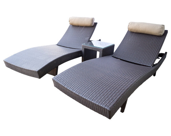 Dola - Outdoor Adjustable Wicker Chaise Lounge Chair With Side Table, Zuma Pair, Espres - The Zuma chaise lounge is the perfect solution for those who love to spend time relaxing outdoors. Whether you place your Zuma lounge next to a pool or on a sun deck, you will be sure to enjoy the comfort of its ergonomic curved design. Larger than the standard lounger, the Zuma is constructed of high quality PE wicker and comes with a head pillow in Sunbrella heather beige fabric. The back is fully adjustable in several positions, so it is perfect for laying down to sunbathe or in an upright position to read a book. When you are done lounging for the season, you can easily retract the legs of the lounger and store until you are ready to use it again.