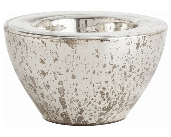 Arteriors Home - Cyd Large Bowl - Cyd Bowl in Distressed Mercury is actually very shallow, so will look full using half of whatever you are filling it with. Available in small and large sizes. Small: 11.5 inch width x 5 inch height. Large: 13.5 inch width x 8 inch height.