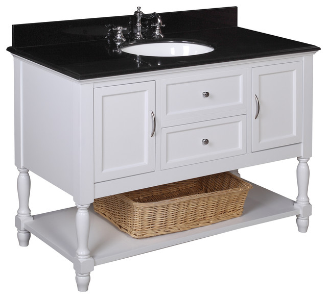 Beverly 48 in Bath Vanity Black White Farmhouse Bathroom Vanities And S