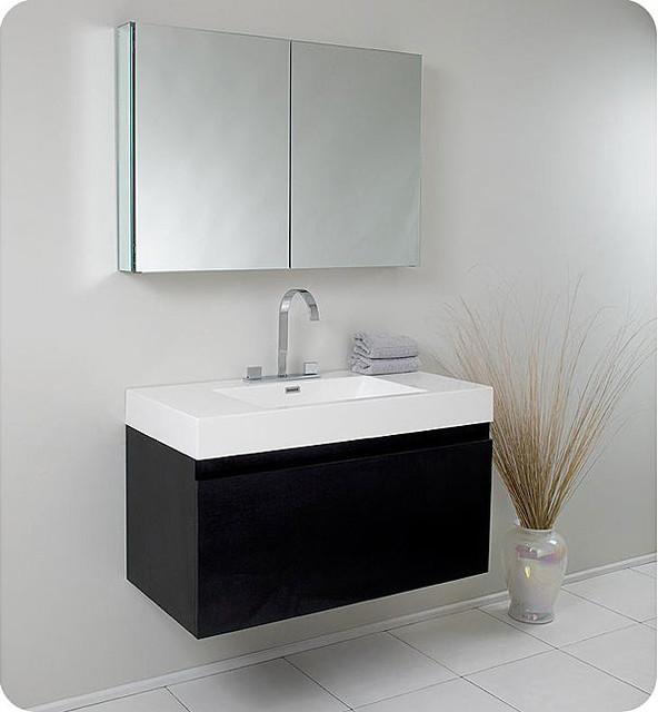 Fresca Mezzo Black Bathroom Vanity with Medicine Cabinet contemporary-bathroom-vanities-and-sink-consoles