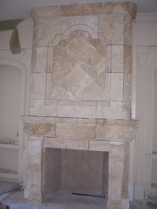 Installations - Custom hand carved Travertine marble mantle with over mantle