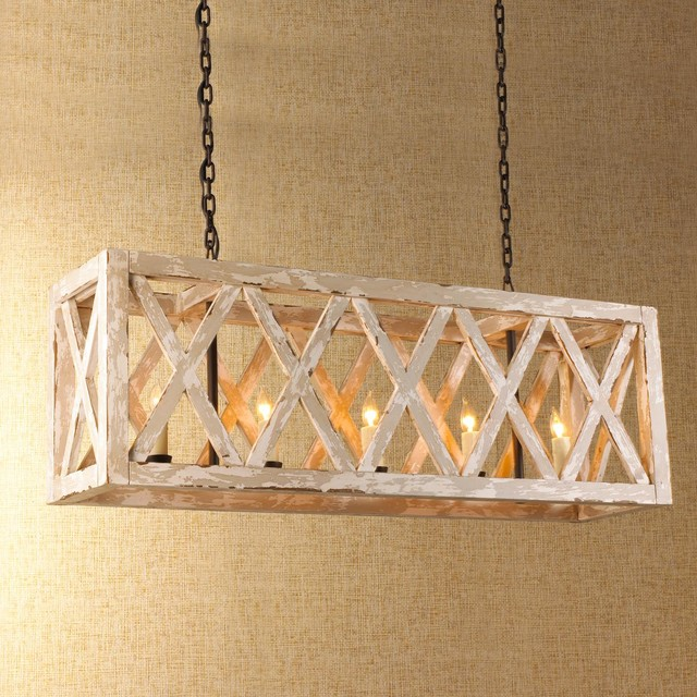 Table Lamps With Rectangular Shades ... Wood Lattice Island Chandelier - Chandeliers - by Shades of Light