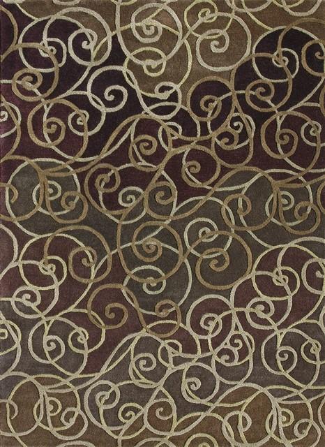 "Contemporary Zara 5'x7'6"" Rectangle Berry-Mocha Area Rug contemporary-rugs"