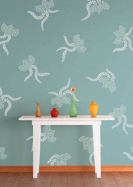 Japanese lace ferns stencil asian wall stencils san diego by royal design studio stencils - Oriental stencils for walls ...