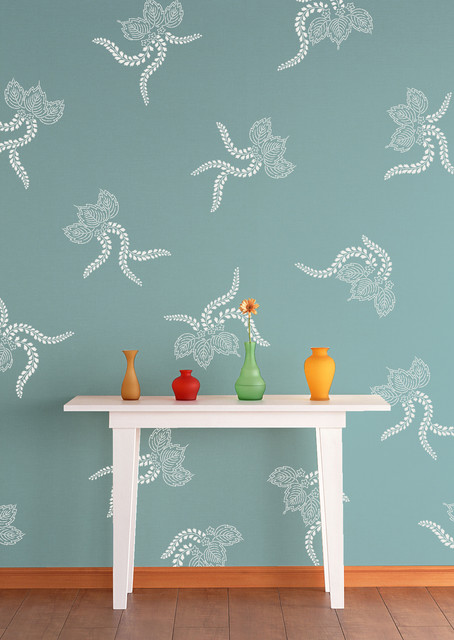 Japanese Lace Ferns Stencil asian-wall-stencils
