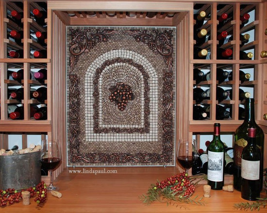 Grapes Mosaic Tile Medallion from Linda Paul Studio - from Linda Paul Studio: Vertical Mosaic Tile Medallion Wall art with grapes center piece and grapvine border. Noche travertine and Botticino mosaic tile and copper decorative  tile accents
