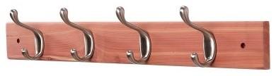 Woodlore Aromatic Cedar Coat Rack with Brushed Nickel Hooks modern-hooks-and-hangers